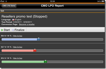 LPO Report gadget compact view on iPad