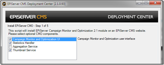 Optional EPiServer CMO components for installation on editing server